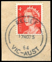 Lot 9931:3rd Asian Oceanic Postal Union Congress: 'RELIEF/17NO75/64/VIC-AUST' on 4c on piece.  PO 17/11/1975; closed 18/11/1975.