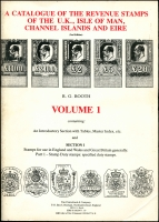 Lot 1097:Great Britain & Eire: A Catalogue of the Revenue Stamps of the UK, Isle of Man, Channel Islands and Eire published in 1982 by Tim Clutterbuck & Co Second Editions Volume 1 and Volume 2 (I) (II), in good condition, with some marking to covers. (3)