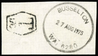 Lot 8243:Busselton: 'BUSSELTON/27AUG1975/WA: 6280' (G33R-a) on taxed piece.  Renamed from Vasse PO c.1900.