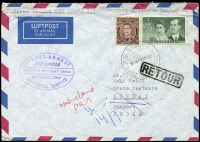 Lot 743:1962 Sydney - Bombay Air Mail cover franked with 3d brown KGVI & 2/- Royal Visit, 'G.P.O.SYDNEY 130/9A9MY62/N.S.W-AUST' (A1) cds cancel, violet cachet at left, unclaimed with boxed 'RETOUR' on face, forwarded to Germany.