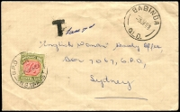 Lot 721:1959 stampless cover with 'BABINDA/3JE59/QLD' cds cancel addressed to Sydney, 'T' (handstamp) tax 7d on face, franked with 7d Postage Due (Cat. $40), 9 Jun 1959 Sydney cds cancel.