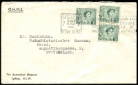 Lot 724:1961 use of 3d green perf 'G/NSW' x3 (1x pair), cancelled with 16 May 1961 Sydney slogan cancel, on The Australian Museum, Sydney OHMS cover, typed addressed to Switzerland. [Paying 1d in excess of postage rate.]