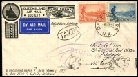 Lot 1041 [1 of 2]:Daly Waters: 'DALY WATERS/8OC34/N.A.' on 2d & 3d Vic Centenary on Queensland Airmail Society cover to Adelaide via Perth (AAMC #429), violet 'RETURN TO' pointed finger & 'TAX3D' handstamps on face. [Rated 2R]  PO c.1883; closed 30/6/1978.