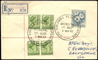 Lot 698 [1 of 2]:1962 14th Colombo Plan Conference '14TH. COLOMBO PLAN CONFERENCE/MELBOURNE/VIC AUST/5NOV62' (A1) on 2d green QE x4 (2x pairs) & 2/- Flower with blue provisional registration label on Boys cover, addressed to Geelong.