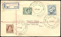 Lot 701 [1 of 2]:1963 2nd Melbourne International Trade Fair '2ND. MELBOURNE INTERNATIONAL/TRADE-FAIR/16MR63/VIC-AUST' on 2d brown, 3d green & 2/- Flower with blue provisional registration label on Boys cover, addressed to Geelong.