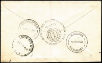 Lot 702 [2 of 2]:1963 Melbourne International Philatelic Exhibition cover franked with 4/- Tasman block of 4, cancelled with 'INTERNATIONAL PHILATELIC EXHIBITION/9OCT63/[1]/MELBOURNE - VIC · AUST' with exhibition registration label, addressed to NSW.