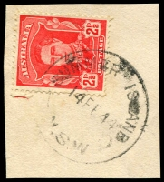 Lot 1080:Summer Island (2): 'SUMMER ISLAND/14FE44/N.S.W' on 2½d red KGVI.  PO 1/9/1916; closed 31/1/1963.