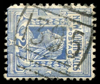 Lot 898:1395: BN on 2d blue. [Rated 2R]  Allocated to Hilltop-RO 11/1/1886; PO 16/12/1887.
