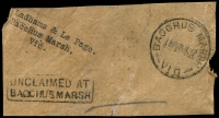 Lot 1850:Bacchus Marsh: WWW #110A 'BACCHUS MARSH/130P28JL37/VIC' on piece alongside boxed 'UNCLAIMED AT/BACCHUS MARSH' (A2).  Renamed from Ballan PO 1/7/1850.