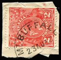 Lot 2220:Mount Buffalo Chalet: WWW #10B 'MT BUFFALO/23AU32/[VICTORIA]' (year wheel inverted) on 2d red KGV on piece.  Renamed from Mount Buffalo RO 22/8/1910; PO 1/2/1914; closed 24/6/1986.