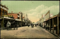 Lot 2515 [2 of 2]:4: 25mm 'UP TRAIN/M.G.4/6AU08/VIC' on 1d pink on multicoloured PPC 'High Street, Maryborough (looking north)'.