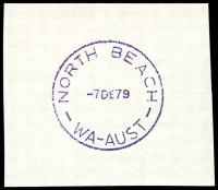 Lot 2574:North Beach: violet 'NORTH BEACH/7DE79/WA-AUST' (F31-a, LRD) on piece.  Renamed from Balcatta RO c.-/1/1919; PO 1/2/1926.