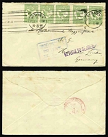 Lot 31:½d x5 comprising strip of 3 and a pair affixed upside down on 1914 envelope to Germany all tied machine cancel 'SYDNEY/5/JY22--1-30P/N.S.W/1914' with alongside violet 'RETURN TO SENDER', blue boxed 'UNDELIVERABLE/MAY19.1915/II.M.D.' and mss 'L' in blue; on the back partial red cds of Sydney DLO on June 3, 1915. Central fold & some trivial blemishes