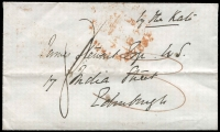 "Lot 477:1852 (Jan 9) stampless cover from Sydney to Edinburgh endorsed ""by the Kate"", rated ""3"" in red, cancelled with poor Sydney Ship Letter of JA*9/1852, Edinburgh arrival of 'MAY/F 1 M/1852' (A2)."