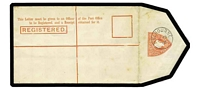 "Lot 665 [2 of 2]:1901 3d red-orange horizonally laid paper as Stieg C9b with 'REGISTERED' 49mm (including the stop), light foxing seen mainly from the back, Melbourne CTO of JE28/02. Scarce item Cat $225 (see Stieg p9 where he notes that CTO ""1901-02 dates are worth half the value of the stationery..."")."