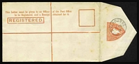"Lot 665 [1 of 2]:1901 3d red-orange horizonally laid paper as Stieg C9b with 'REGISTERED' 49mm (including the stop), light foxing seen mainly from the back, Melbourne CTO of JE28/02. Scarce item Cat $225 (see Stieg p9 where he notes that CTO ""1901-02 dates are worth half the value of the stationery..."")."