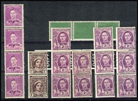 Lot 284 [2 of 2]:1941-51 Selected KGVI Coils with 1942 2d mauve strip of 4 ** central join BW #189bd, 1944 QM 1d purple-brown pair ** BW #225bd, 1948 2d bright purple with wmk strip of 3 ** and pair */** both with join and latter toned gum BW #228bd, 1949 no wmk two strips of 3 with top units * one with few lightly toned perfs BW #229bb. Also 1938 green test label strip of 3 (light tone) and decimal period jet black PMG type strip of 4, both **. (8)
