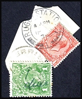 "Lot 141:1d Green with mss ""1/dues"" cancelled at Werribee, on address label piece with GB 1d red cancelled at Rugby Station. use of endorsed postage stamps in lieu of postage due stamps is very unusual."