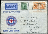 Lot 413 [2 of 2]:1940 New Zealand - Australia (Apr 27 - May 2) and return flying boat service AAMC #899-900, Cat $200. The inward a plain envelope (small nick at top) with 'FIVE PENCE' on 3d SG #551 tied Auckland machine slogan, Sydney backstamp; return TEAL illustrated envelope (couple spots) with ½d orange Roo Ash imprint pair and 4d Koala tied Sydney May 1 machine slogan. (2)