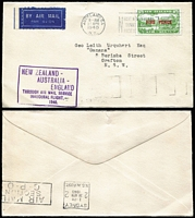 Lot 413 [1 of 2]:1940 New Zealand - Australia (Apr 27 - May 2) and return flying boat service AAMC #899-900, Cat $200. The inward a plain envelope (small nick at top) with 'FIVE PENCE' on 3d SG #551 tied Auckland machine slogan, Sydney backstamp; return TEAL illustrated envelope (couple spots) with ½d orange Roo Ash imprint pair and 4d Koala tied Sydney May 1 machine slogan. (2)