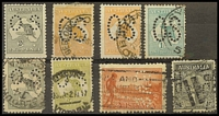 Lot 54:Perfin Varieties in mixed poor to only average condition, best likely to be 1935 1/- Anzac with inverted 'D.J./Ltd' (heavy commercial cancel); others include large 'OS' 4d (2) and 1/- Roos, other oddments. (8)