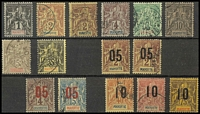 Lot 1013 [2 of 2]:1892-1912 used (ex noted) range comprising 1892 1c to 10c (2c x2, 4c blunted corner), 1900 15c grey SG #164 Cat £100 and 35c SG #18 plus seven 1912 '05' and '10' narrow setting surcharges SG #21A-30A range including one of two '05' on 2c and '10' on 75c fresh MH. (15)