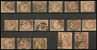 Lot 1377 [2 of 2]:1870-79 Line-Engraved ½d Plates 1-20 complete (ex Plate 9) SG #48-9 where Plate 8 may be unused and second Plate 14 off-centre high certainly mint og; plus 1½d Plates 1 & 3 may be both shades SG #51-2. Mostly duplex cancels including Irish and Scottish, usual variable centring, better than average plating copies with total Cat c£790. (17)