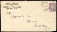 Lot 803:1896 PTPO 1d Centennial 'PRINTED CIRCULAR' envelope for 'Robert B Wallace' of Newcastle, to Bremen, Germany. Small peripheral faults.