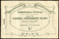 Lot 296 [1 of 3]:1927 2/- Canberra Booklet BW #B38, Cat $125. Two stamps removed from second pane, cover in good condition (small red stain), typical rusty staple.