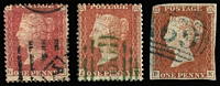 Lot 1184:Line-Engraved Postmarks: imperf 1d red-brown with what appears to be a greenish blue 'A69' cancel; 1d Stars with a bright green BN '?86' (probably '486' Yarmouth - Isle of Wight); 1d Plate 140 with 1871-72 Azemar machine cancel Whitney #10/10 (adds good premium to underlying stamp value). Nice variety. (3)