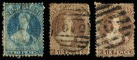 Lot 1283 [2 of 2]:1862-67 Chalons Wmk Large Star selection with variable centring comprising [1] P13 at Dunedin 6d red-brown SG #77 cat £120; [2] P12½ at Auckland 2d blue and two shades 6d brown SG #115 & 122a cat £106. (4)