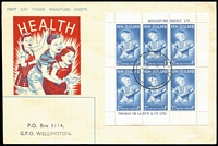 Lot 1777 [2 of 2]:1963 Health Miniature Sheets of Prince Andrew SG #816a tied to SMC illustrated FDCs by Health Camp special cds (2½d Otaki, 3d Gisborne). (2)
