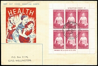 Lot 1777 [1 of 2]:1963 Health Miniature Sheets of Prince Andrew SG #816a tied to SMC illustrated FDCs by Health Camp special cds (2½d Otaki, 3d Gisborne). (2)