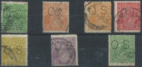 Lot 172 [3 of 3]:Perf 'OS' cds varieties mainly fine with ½d green perf 'OS/NSW' [1L6]; 2d orange [7L31] plus another, along with a similar 2d scarlet, each so far off-centre they could count as a variety in their own right; 4d olive [3L55]; 4½d violet [1R55]; plus LM wmk ½d green [7R59]. Centring varies, min cat $295. (7)