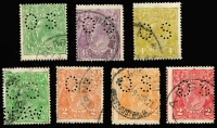 Lot 172 [1 of 3]:Perf 'OS' cds varieties mainly fine with ½d green perf 'OS/NSW' [1L6]; 2d orange [7L31] plus another, along with a similar 2d scarlet, each so far off-centre they could count as a variety in their own right; 4d olive [3L55]; 4½d violet [1R55]; plus LM wmk ½d green [7R59]. Centring varies, min cat $295. (7)