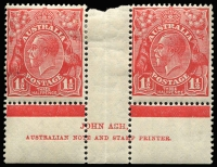 Lot 143:1½d Red Die II Ash 'N' over 'N' imprint pair from Plate 3 with imprint variety of BW #92(3)zc Damaged 'S' of 'ASH' (BW records this on CofA wmk only). Usual gutter fold, hinge remains, fresh appearance.