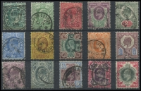 Lot 1932 [2 of 2]:1902-10 KEVII ½d to 1/- basic set of 15 (two ½d shades), appear all De La Rue in SG #215-259 range cat £300+. Greens on 2d, 4d and 1/- strong original colour, either registered ovals (3) or cds cancels, latter including squared circle (Cirencester on ½d blue-green) and a London hooded circle. (15)