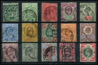 Lot 1932 [1 of 2]:1902-10 KEVII ½d to 1/- basic set of 15 (two ½d shades), appear all De La Rue in SG #215-259 range cat £300+. Greens on 2d, 4d and 1/- strong original colour, either registered ovals (3) or cds cancels, latter including squared circle (Cirencester on ½d blue-green) and a London hooded circle. (15)