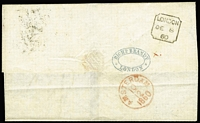 Lot 1154 [2 of 2]:1860 (Dec 8) Outer London to Amsterdam inscribed Via Ostende with 1857 4d rose-carmine pair SG #66 (£300+ on cover) each cancelled London diamond BN '11', handstamp 'England/Franco' in black alongside (prob applied in Ostend). On the back commercial cachet in blue of 'RICHD BRANDT/LONDON', black London indented square receiving, red Amsterdam arrival cds two days later. Scorch fault, filing folds not affecting stamps, a bit fragile.