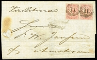 Lot 1154 [1 of 2]:1860 (Dec 8) Outer London to Amsterdam inscribed Via Ostende with 1857 4d rose-carmine pair SG #66 (£300+ on cover) each cancelled London diamond BN '11', handstamp 'England/Franco' in black alongside (prob applied in Ostend). On the back commercial cachet in blue of 'RICHD BRANDT/LONDON', black London indented square receiving, red Amsterdam arrival cds two days later. Scorch fault, filing folds not affecting stamps, a bit fragile.