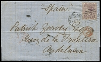 Lot 1633 [1 of 2]:1862 (Feb 25) entire to Andalusia (Spain) with 6d lilac SG #70 (cat £190 on cover) tied BN '567' duplex of Newton Abbot alongside circle 'PD' in red, backstamp red London transit following day, 'JEREZ/4/MAR/CADIZ' d/ring cds in black, a tad fragile but fine overall. From the correspondence of the Garvey family (renowned dealer/supplier of quality sherry, port, etc). Very nice.