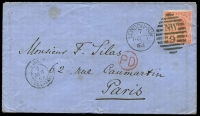 Lot 1156 [1 of 2]:1864 (Nov 7) neat envelope London to Paris with 4d red hair lines SG #82 (cat £225 on cover) tied London 'NW/9' duplex Whitney #7/5 alongside 'ANGL/7/NOV/64/AMB.CALAIS.A' and red circular 'PD' and black backstamp Paris arrival. Crease at right through stamp and small peripheral faults hardly detract from an attractive cover.