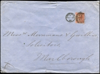 Lot 1975 [1 of 4]:1866 (May 16) large envelope roughly opened London-Marlborough with 4d vermilion Plate 7 SG #94 (c£200 on cover) tied London 'SW/19' duplex, backstamp single ring thimble arrival plus ornate red seal of Medical & General Life Insurance. PLUS 1931 (April 4) plain envelope England-Australia first fllght AAMC #187 from $100, forwarded to New Zealand, faults. (2)