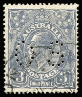 Lot 289:3d Blue Die Ia Type A perf 'OS' Wmk inverted, BW #106Caa, cds cancel, Cat $150 (current retail $200+).