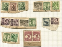 Lot 974 [3 of 3]:Madang: four air mail covers to Australia (one Tatts registered) incl 'RELIEF No 4' on 1946 (May 27) env to NSW; 24 pieces some with multiple frankings and noting 2/- Roo pair. (28)
