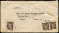 Lot 974 [1 of 3]:Madang: four air mail covers to Australia (one Tatts registered) incl 'RELIEF No 4' on 1946 (May 27) env to NSW; 24 pieces some with multiple frankings and noting 2/- Roo pair. (28)