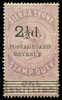 Lot 1708:1897 Fiscal Stamps Overprinted 2½d on 1/- dull lilac SG #66b. MNG with usual water stains, Cat £425 as water-stained.