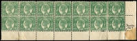 Lot 932:1895 Lined-Oval No Wmk Burelé Band Perf 12½,13 ½d green SG #223, bottom right corner rejoined horizontal block of 14 (7x2) with full selvedge, important variety Double perfs at base affecting only the lower right five units and the selvedge (several reinforcements). Several units show ink blotches in the white areas around Queen's head, one unit with a closed puncture. As normal stamps cat £140 (local retail $210). Interesting.