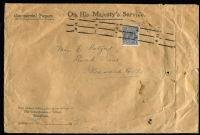 Lot 176 [2 of 2]:3d Blue Die II on large 'COMMERCIAL PAPERS ONLY' OHMS envelopes of The Correspondence School, Blackfriars, Sydney (filing punctured and creased) to Mrs E Katzur at Pleasant Hills - [1] 1932 (Aug 23) SM wmk o/c perf 'OS' BW #108b, roller cancel; [2] 1935 (July 15) CofA wmk well-centred perf 'G/NSW' (as BW #109), 'SYDNEY/29' cds.