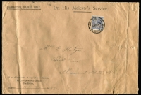 Lot 176 [1 of 2]:3d Blue Die II on large 'COMMERCIAL PAPERS ONLY' OHMS envelopes of The Correspondence School, Blackfriars, Sydney (filing punctured and creased) to Mrs E Katzur at Pleasant Hills - [1] 1932 (Aug 23) SM wmk o/c perf 'OS' BW #108b, roller cancel; [2] 1935 (July 15) CofA wmk well-centred perf 'G/NSW' (as BW #109), 'SYDNEY/29' cds.